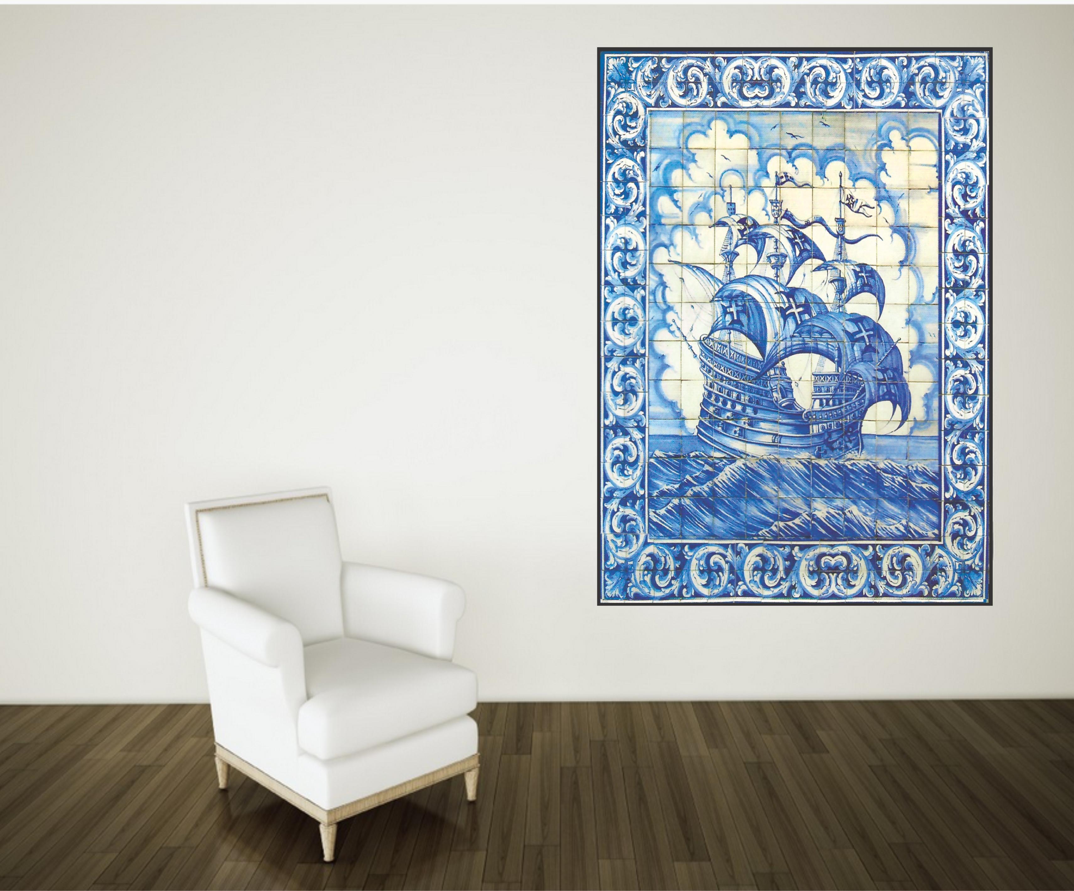 Adesivo de parede azulejos portugueses caravela cole decore - Azulejos portugueses comprar ...